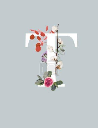 Foto de Letra blanca T con rama de algodón, higuera y hojas verdes aisladas en gris - Imagen libre de derechos