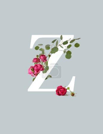 Photo pour Lettre blanche Z avec des roses rose et des feuilles vertes isolées sur le gris - image libre de droit