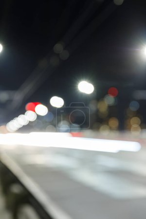 long exposure of bright lights on road at nighttime in city