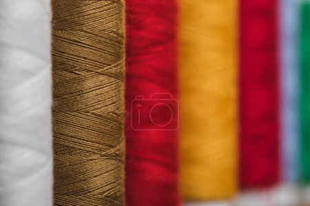 Photo for Selective focus of colorful cotton thread coils in row with copy space - Royalty Free Image