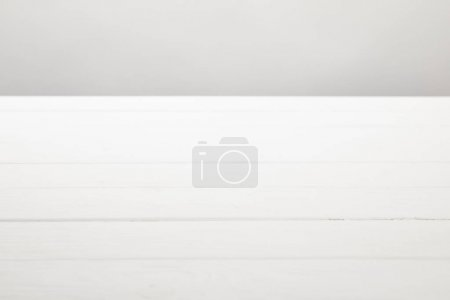 white wooden planks isolated on grey with copy space