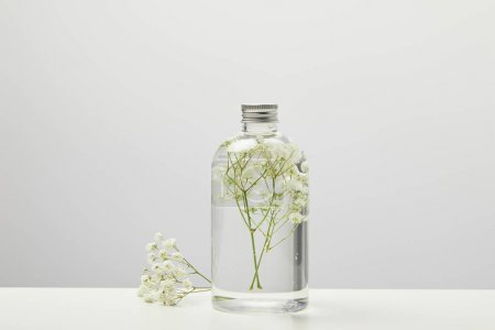 Photo pour Natural homemade beauty product with white wildflowers in transparent bottle on grey background - image libre de droit