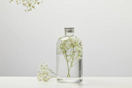 Photo pour Produit de beauté organique dans la bouteille transparente avec les fleurs sauvages blanches sur le fond gris - image libre de droit