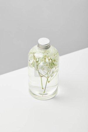 Photo pour Produit de beauté organique dans la bouteille transparente avec des herbes sur la table blanche d'isolement sur le gris - image libre de droit