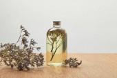 """Постер, картина, фотообои """"органический продукт красоты в бутылке возле фиолетовых сушеных полевых цветов на деревянном столе, изолированном на сером"""""""