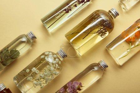 Photo pour Vue supérieure des bouteilles transparentes avec les produits de beauté organiques et les fleurs sauvages et les herbes séchées sur le fond jaune - image libre de droit