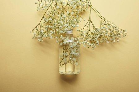 Photo pour Vue supérieure de la bouteille avec le produit normal de beauté près des fleurs sauvages blanches séchées sur le fond jaune - image libre de droit
