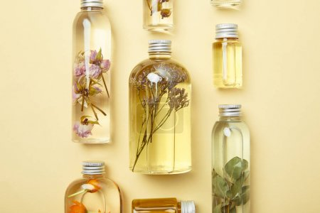 Photo pour Top view of transparent bottles with natural beauty products and dried wildflowers on yellow background - image libre de droit