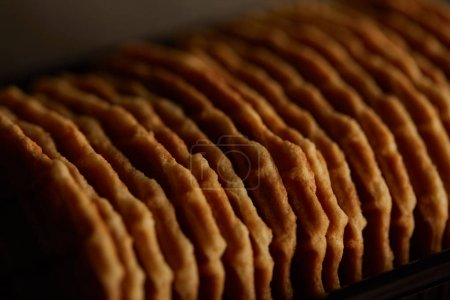 Photo for Close up view of delicious thin crispy waffles - Royalty Free Image