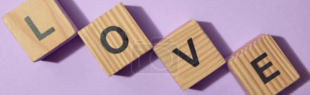 panoramic shot of wooden blocks with letters on purple surface
