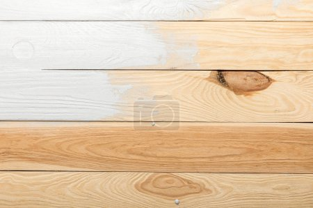 Photo for Textured wooden background painted in white with copy space - Royalty Free Image
