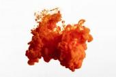 """Постер, картина, фотообои """"Close up view of orange paint splash isolated on white"""""""