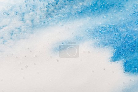 Photo for Blue colorful watercolor paint spill on white textured background with copy space - Royalty Free Image