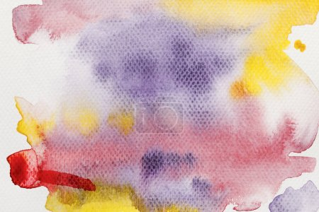 Photo for Top view of yellow, purple and red watercolor paint spills on textured background - Royalty Free Image