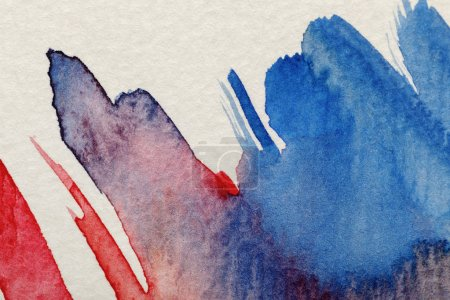 Photo for Close up view of blue and red watercolor paint brushstrokes on white textured background - Royalty Free Image