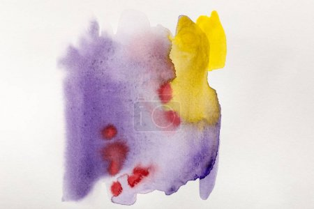 Photo for Yellow, purple and red watercolor paint spills on white background - Royalty Free Image
