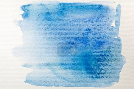 Photo for Blue watercolor paint spill on white background - Royalty Free Image