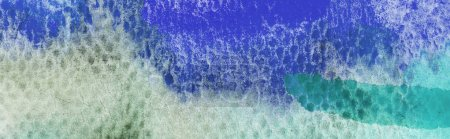 Photo for Panoramic shot of green and blue watercolor paint spills on textured background - Royalty Free Image