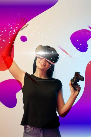 Photo for KYIV, UKRAINE - APRIL 5, 2019: Happy young woman in virtual reality headset with joystick in hands on beige and blue background with abstract illustration - Royalty Free Image