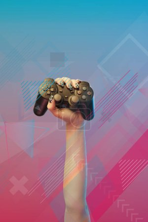 Photo for KYIV, UKRAINE - APRIL 5, 2019: Cropped view of woman holding joystick in hand on pink and blue gradient background with abstract illustration - Royalty Free Image