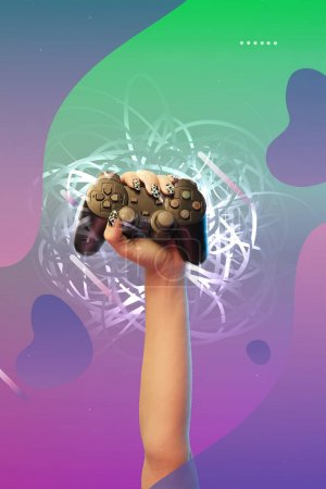 Photo pour KYIV, UKRAINE - APRIL 5, 2019: Cropped view of woman holding joystick in hand on purple and green gradient background with abstract illustration - image libre de droit