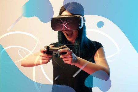 Photo for KYIV, UKRAINE - APRIL 5, 2019: Excited young woman in virtual reality headset using joystick on beige background with abstract blue illustration - Royalty Free Image