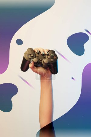 Photo for KYIV, UKRAINE - APRIL 5, 2019: Cropped view of woman holding joystick in hand on beige background with abstract purple and blue illustration - Royalty Free Image