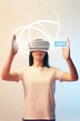 "Постер, картина, фотообои ""young woman in vr headset holding search bar illustration on beige and blue background"""