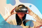 "Постер, картина, фотообои ""young woman in virtual reality headset with glowing cyber and abstract blue illustration on beige background"""