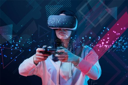 KYIV, UKRAINE - APRIL 5, 2019: Woman in virtual reality headset using joystick on dark background with abstract illustration