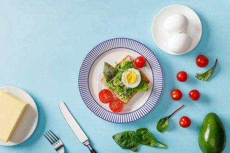 Photo pour Vue supérieure du pain grillé avec le guacamole, l'avocat, les oeufs bouillis, le beurre, les tomates cerises dispersées et les épinards sur le fond bleu - image libre de droit