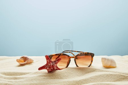 Photo for Brown stylish sunglasses on sand with seashells and starfish on blue background - Royalty Free Image