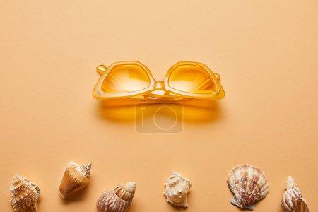 Foto de Vista superior de conchas marinas texturizadas y gafas de sol con estilo sobre fondo beige - Imagen libre de derechos