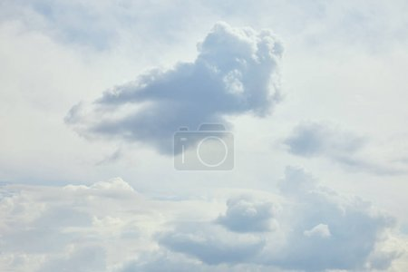 Peaceful blue sky with white clouds and copy space