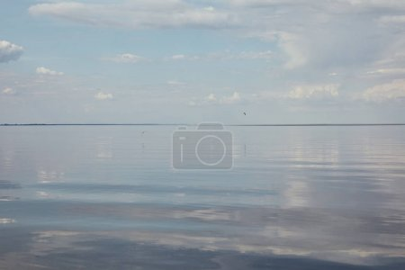 River with peaceful blue sky and copy space