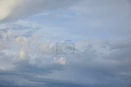 view of grey clouds on blue sky background