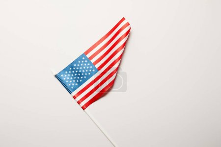 Photo for Top view of national usa flag on white background with copy space - Royalty Free Image
