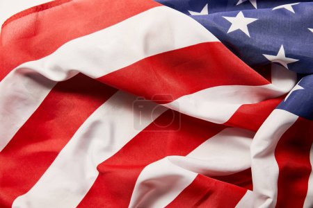 close up view of crumpled national american flag