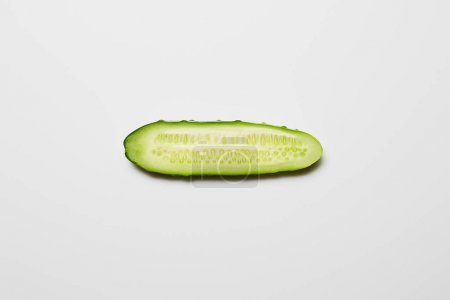 Photo for Top view of fresh cucumber slice on white background - Royalty Free Image