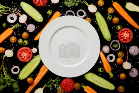 Photo for Top view of empty round plate with copy space on vegetable pattern background isolated on black - Royalty Free Image