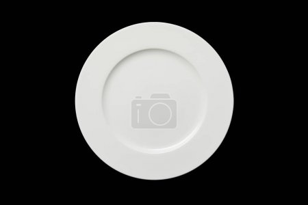Photo for Top view of white empty round plate isolated on black - Royalty Free Image