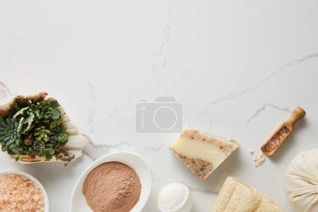 Photo pour Vue supérieure de poudre d'argile, bombe de bain, sel de mer et succulent dans le coquillage sur la table de marbre - image libre de droit