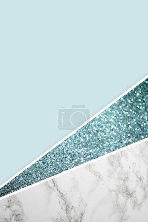 Foto de Geometric background with blue glitter, marble and light blue color - Imagen libre de derechos