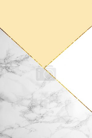 Photo for Geometric background with grey marble, white and light yellow colors - Royalty Free Image