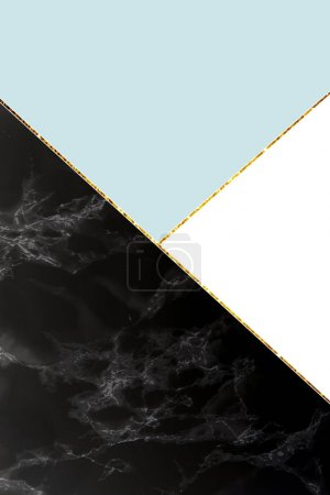 Photo for Geometric background with black marble, white and light blue colors - Royalty Free Image