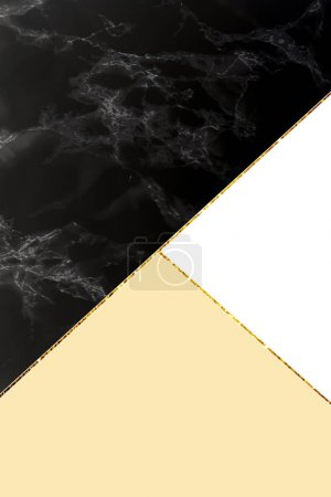 Photo for Geometric background with black marble, white and light yellow colors - Royalty Free Image