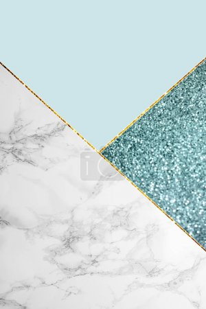 Photo for Geometric background with blue glitter, marble and light blue color - Royalty Free Image