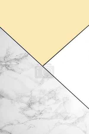 Photo for Geometric background with marble, white and light yellow colors - Royalty Free Image