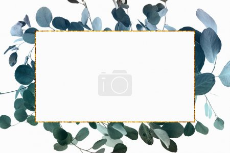 Photo for Floral design with green eucalyptus leaves and golden frame - Royalty Free Image