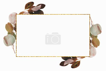 Floral design with green eucalyptus branches and golden frame